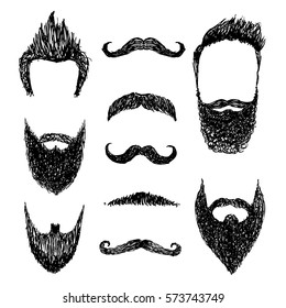Set of mustache and beard silhouettes, vector illustration
