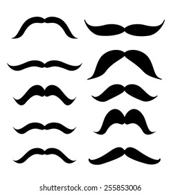 Set of mustache (mustache collection), retro style, vector illustration