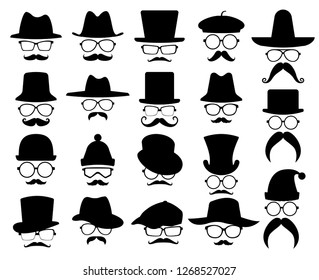set of mustache, hat and eye glass glyph vector icon, modern concept