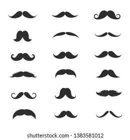 Set of Mustache isolated on white. Vector illustration.