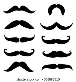 Set of mustache on white background, vector illustration