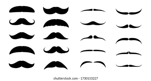 Set of Mustaches. Black silhouette of adult man moustaches. Symbol of Fathers day. Vector illustration isolated on white