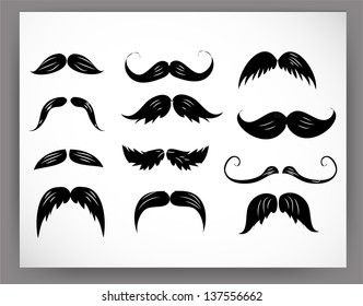 Set of mustaches isolated on white. Vector illustration