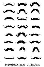 Set of mustaches isolated on white background for retro or barber shop design