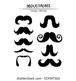 Set of mustaches isolated on white background. Collection of men's mustaches silhouettes. Design elements. Vector illustration