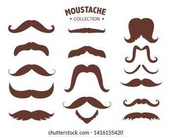 Set of mustaches silhouettes,Men's mustaches,Vector illustrations