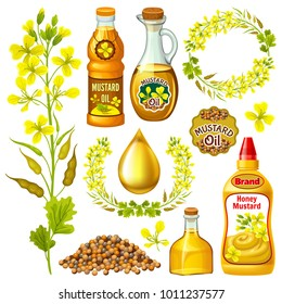 Set of  mustard, flowering, seeds and oils. 3d realistic isolated vector illustration.