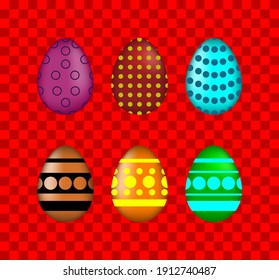 Set of muticolored eggs on background. Set of easter eggs. Flat. Vector illustration.