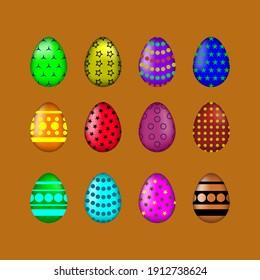 Set of muticolored eggs on orange background. Set of easter eggs. Flat. Vector illustration.