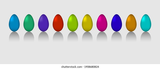Set of muticolored eggs with  shadow on gray background. Flat. Vector illustration. Eps10.