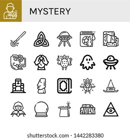 Set of mystery icons such as Magician, Magic wand, Paganism, Ufo, Spell book, Stonehenge, Anonymous, Crystal ball, Confused, Haunted house, Moai, Fortunetelling, Surprised , mystery
