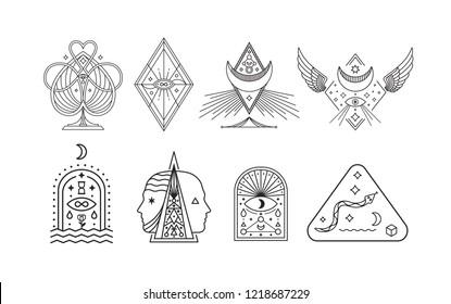Set Mystic Symbols. Esoteric, Alchemy, sacred geometry.
