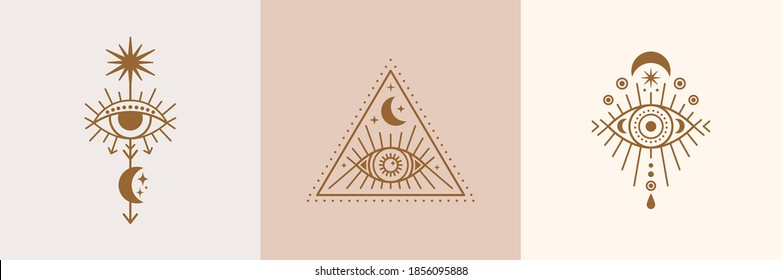 Set of Mystical Eyes, Sun and Moon Icons in a Trending Minimal Linear Style. Vector Isoteric Illustration for t-shirt Prints, Boho Posters, Covers, Logo Designs and Tattoos.
