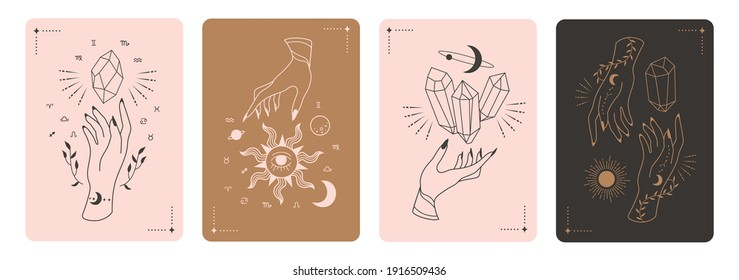 Set of mystical tarot cards. Elements of esoteric, occult, alchemical and witch symbols. Zodiac signs. Cards with esoteric symbols. Silhouette of hands,  stars, moon and crystals. Vector illustration