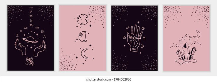 Set of mystical templates for tarot cards, banners, flyers, posters, brochures, skins. Hand-drawn. Cards with esoteric symbols. Silhouette of hands, planets, stars, moon phases and crystals. vector