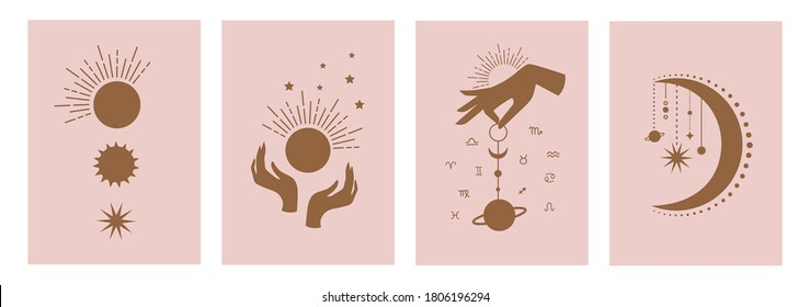 Set of mystical templates for tarot cards, banners, flyers, posters, brochures, stickers. Hand-drawn. Cards with esoteric symbols. Silhouette of hands, planets, stars and crystals. vector
