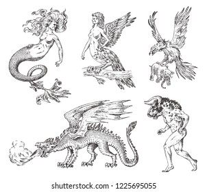 Set of Mythological animals. Mermaid Minotaur Chinese dragon Harpy Griffin Mythical Basilisk Roc Woman Bird. Greek creatures. Engraved hand drawn antique old vintage sketch.