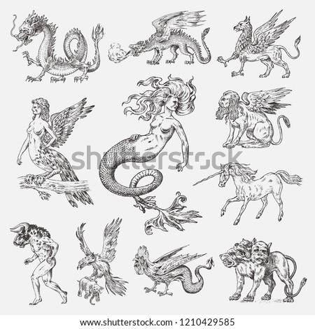 Set of Mythological animals