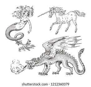 Set of Mythological animals. Mermaid Unicorn Chinese dragon Basilisk Woman. Greek creatures. Engraved hand drawn antique old vintage sketch.