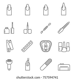 Set of nail Related Vector Line Icons. Includes such Icons as manicure, manicurist, nail, salon, pedicure and etc.