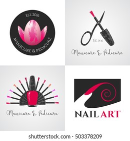 Set of nails salon, nails art vector logo, icon, symbol, emblem, sign. Graphic design element with nails tools - lacquer, scissors, finger