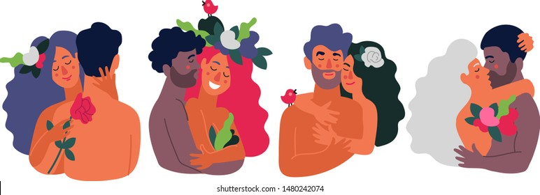 Set of naked lovers different nationalities hug each other make love, have sex, love relationship. Heterosexual multiracial сouples kiss hug gentle touch smile.Vector flat illustration white isolated