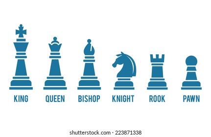 Set of named chess piece vector icons in blue silhouettes on white showing the king  queen  rook  bishop  knight  and pawn