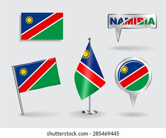 Set of Namibian pin, icon and map pointer flags. Vector illustration.