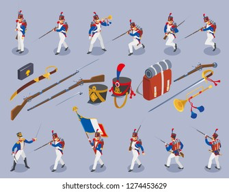 Set of  Napoleon's grenadiers isometric icons on isolated background