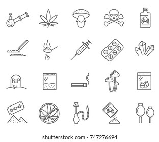 Set of narcotics Related Vector Line Icons. Includes such Icons as pills, addiction, smoking blends and more.
