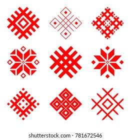 Set of national belarus ornament. Slavic ethnic pattern.