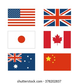 set of National flag of Japan, China, America, Australia, Canada and England