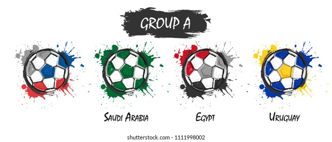 Set of national football team group A . Realistic watercolor art paint with stained splash color . Flat design . Vector for international world championship tournament cup 2018 .