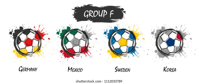 Set of national football team group F . Realistic watercolor art paint with stained splash color . Flat design . Vector for international world championship tournament cup 2018 .