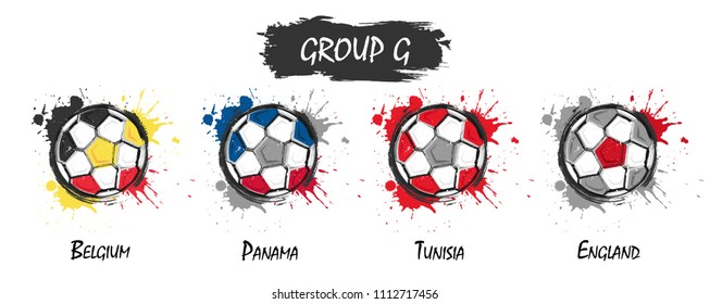 Set of national football team group G . Realistic watercolor art paint with stained splash color . Flat design . Vector for international world championship tournament cup 2018