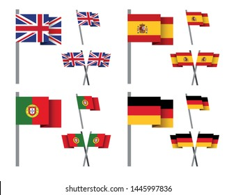 set of national pole flag icons on white background, Europe continent, vector illustration