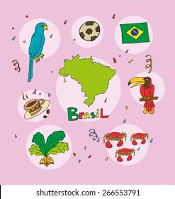 The set of national profile of the brasil  cartoon state of the world isolated on the background. Hand drawing decorative elements of the state and simple design of the country