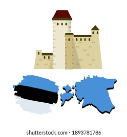 Set of national symbols of Estonia. Map of state and stylized flag. European Tourist Attraction. Narva castle and fortress. Architectural landmark. Flat icon