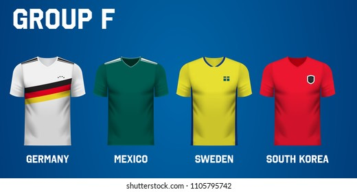 Set of national team jersey shirts for group F in a football tournament