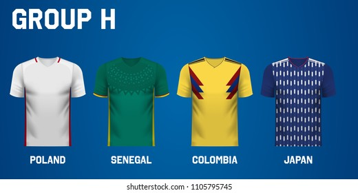 Set of national team jersey shirts for group H in a football tournament
