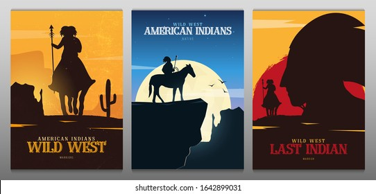 Set of Native American Indian with horse banners. Wild West landscape