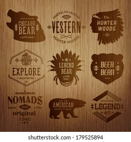 Set of native american labels