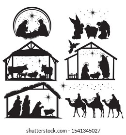 Set of nativity scene silhouettes. Collection of traditional christian figures holy night. Christmas holiday. Vector illustration for children.