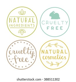 Set of natural cosmetics badges. Vector hand drawn illustration