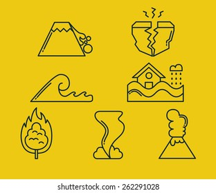 A set of natural disaster icons
