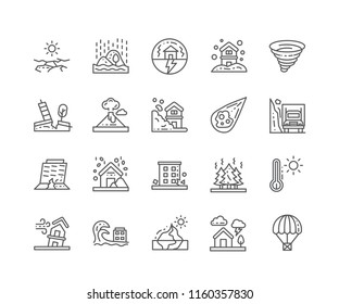 Set of Natural Disaster outline icons isolated on white background. Editable Stroke. 64x64 Pixel Perfect.