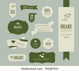 set of natural label and organic label green color. vintage labels and badges design.