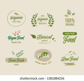 set of natural labels and organic labels green color. vintage labels and badges design.