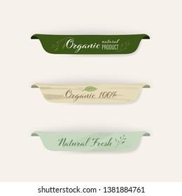 set of natural labels and organic labels green color and banner. vintage labels and badges design.