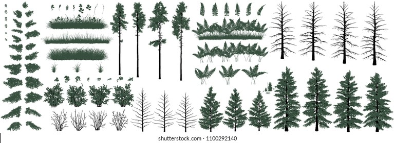 Set of natural objects. Large set of realistic natural objects: trees, bushes, herbs and grass
